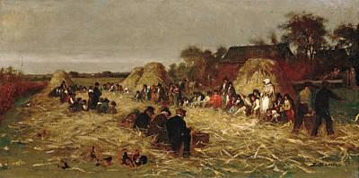 Painting - Corn Husking At Nantucket by Eastman Johnson