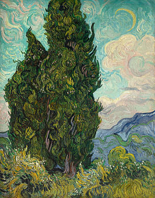 Moonlit Painting - Cypresses by Vincent van Gogh
