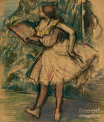 Dancer With A Fan Art Print by Edgar Degas