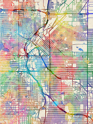 Denver City Wall Art - Digital Art - Denver Colorado Street Map by Michael Tompsett