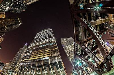Photograph - Downtown Chicago Illinois City Skyline At Night by Alex Grichenko