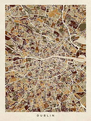 Dublin Digital Art - Dublin Ireland City Map by Michael Tompsett