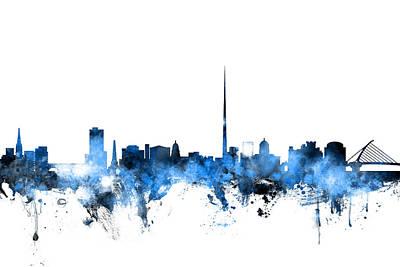 Dublin Wall Art - Digital Art - Dublin Ireland Skyline by Michael Tompsett