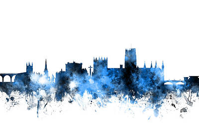 Great Digital Art - Durham England Skyline Cityscape by Michael Tompsett