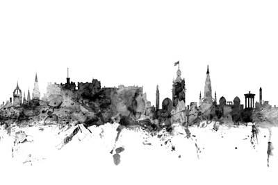 Edinburgh Digital Art - Edinburgh Scotland Skyline by Michael Tompsett