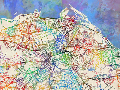 Digital Art - Edinburgh Street Map by Michael Tompsett