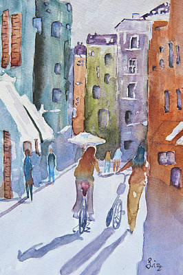 Two Bicycles Painting - Down The Alley by Elizabeth Dorgan Thiart
