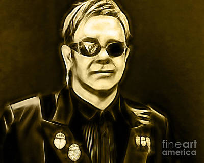 Elton John Mixed Media - Elton John Collection by Marvin Blaine