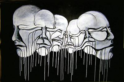 Monotone Painting - 6 Faces by Stephen  Barry