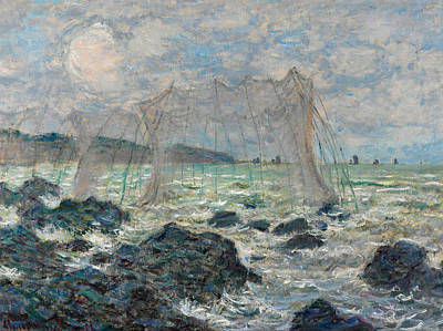 Fishing Nets At Pourville Art Print by Claude Monet