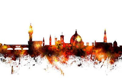 Digital Art - Florence Italy Skyline by Michael Tompsett