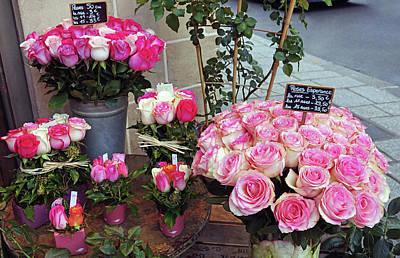 School Tote Bags - Flower Shop Display In Paris, France by Rick Rosenshein