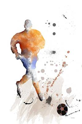 Athletic Digital Art - Football Player by Marlene Watson