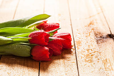 Wet Photograph - Fresh Red Tulip Flowers Bouquet On Wood by Michal Bednarek