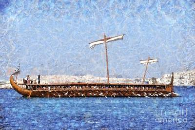 Wood Painting - Painting Of An Ancient Trireme by George Atsametakis