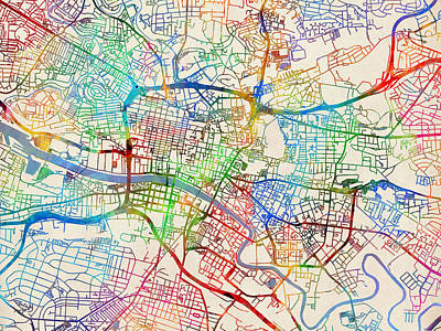 Glasgow Street Map Art Print by Michael Tompsett