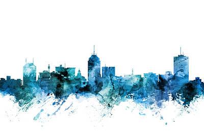 Digital Art - Grand Rapids Michigan Skyline by Michael Tompsett