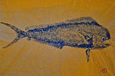 Mixed Media - Gyotaku - Mahi Mahi - Dorado - Dolphinfish by Jeffrey Canha