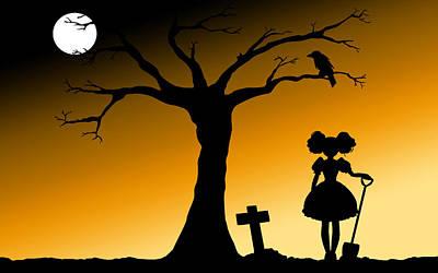 Sunset Digital Art - Halloween by Super Lovely
