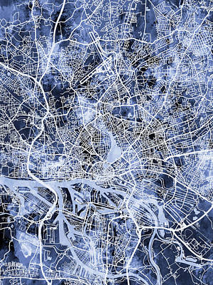 Digital Art - Hamburg Germany City Map by Michael Tompsett