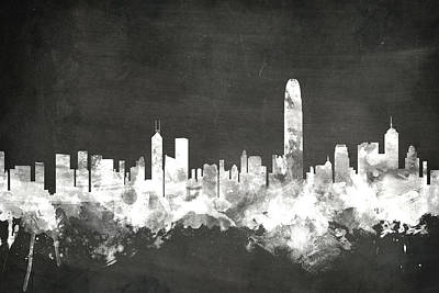 Blackboard Digital Art - Hong Kong Skyline by Michael Tompsett