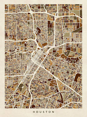 Houston Texas City Street Map Art Print by Michael Tompsett
