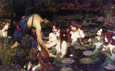Hylas And The Nymphs Art Print by John William Waterhouse