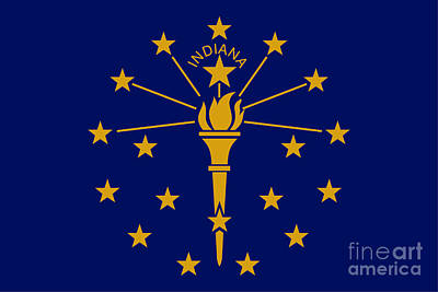Mixed Media Royalty Free Images - Indiana Flag Royalty-Free Image by Frederick Holiday