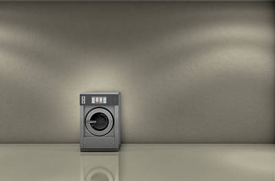 Shiny Floors Digital Art - Industrial Washer In Empty Room by Allan Swart