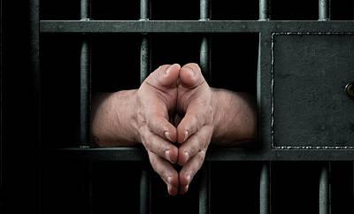 Jail Cell Door And Hands Art Print