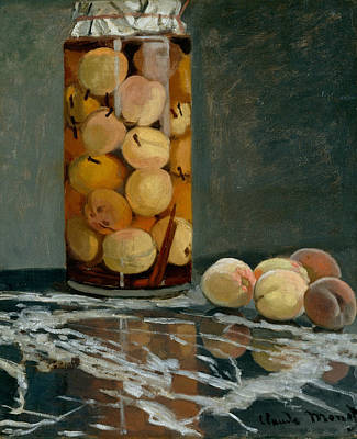 Jar Of Peaches Art Print by Claude Monet