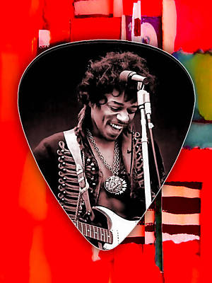 Jimi Mixed Media - Jimi Hendrix Guitar Pick Collection by Marvin Blaine