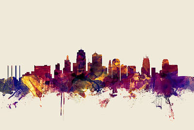 Kansas City Digital Art - Kansas City Skyline by Michael Tompsett