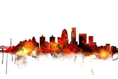Michael Digital Art - Louisville Kentucky City Skyline by Michael Tompsett