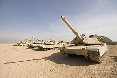 Battle Tank Photograph - M1 Abrams Tank At Camp Warhorse by Terry Moore