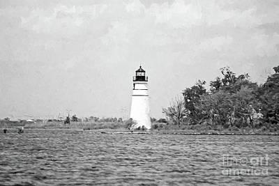 Photograph - Madisonville Lighthouse - Digital Painting Bw by Scott Pellegrin