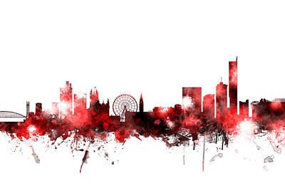 Great Britain Digital Art - Manchester England Skyline by Michael Tompsett