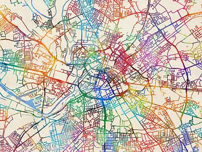 England Digital Art - Manchester England Street Map by Michael Tompsett