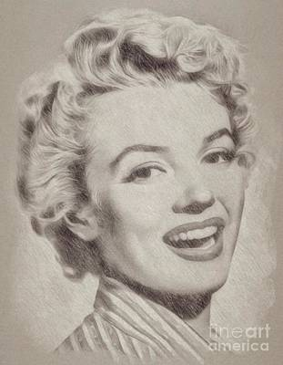 John Wayne Drawing - Marilyn Monroe Vintage Hollywood Actress by Frank Falcon