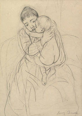 Impressionism Drawing - Maternal Caress by Mary Cassatt