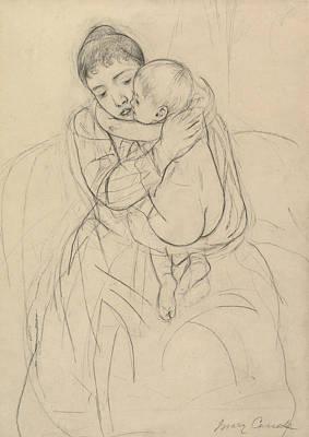 Impressionism Drawing - Maternal Caress by Mary Cassatt