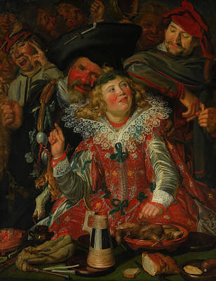 Beer Oil Painting - Merrymakers At Shrovetide by Frans Hals