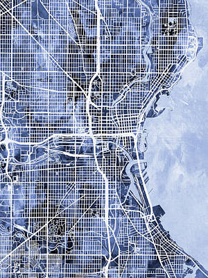 Digital Art - Milwaukee Wisconsin City Map by Michael Tompsett