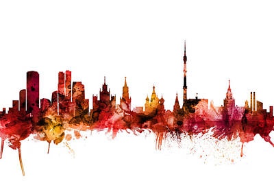 Moscow Wall Art - Digital Art - Moscow Russia Skyline by Michael Tompsett