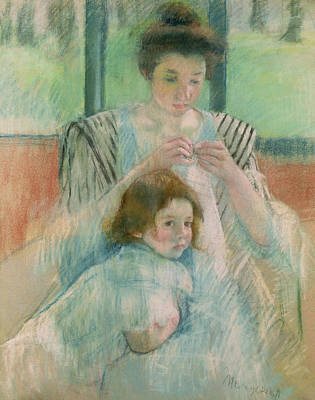 Cassatt Pastel - Mother And Child by Mary Stevenson Cassatt