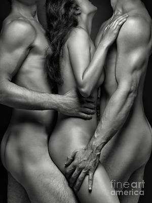 Photograph - Naked Woman And Two Men by Oleksiy Maksymenko