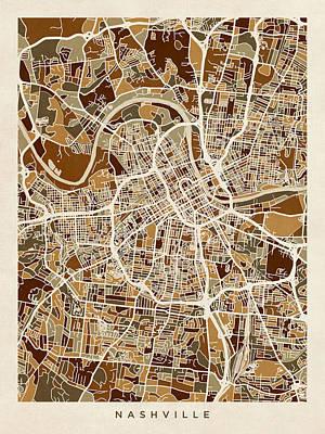 Digital Art - Nashville Tennessee City Map by Michael Tompsett