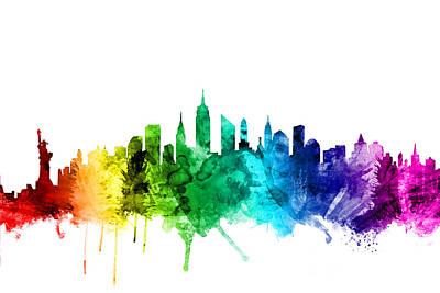Cities Digital Art - New York City Skyline by Michael Tompsett