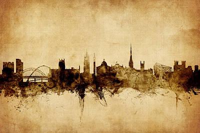Great Britain Digital Art - Newcastle England Skyline by Michael Tompsett