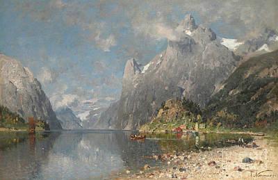Norwegian Fjord Landscape Art Print by Celestial Images
